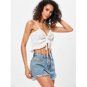 Flounce Ruched Crop Cami Top -