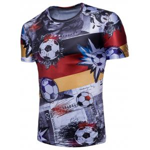 Football Euro German Flag Print Crew Neck T-shirt -