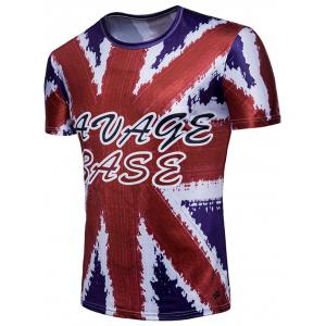British Flag Letter Print Short Sleeve T-shirt -