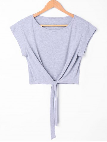 Fancy Tie Front Cropped Tee