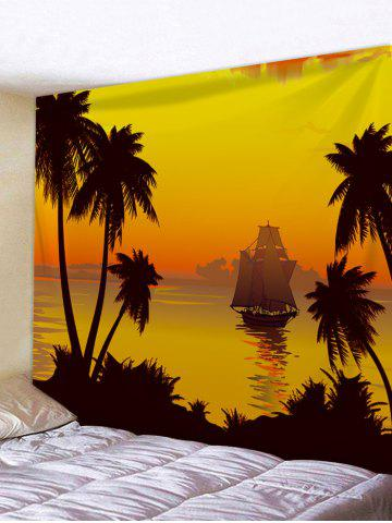 Cheap Sunset Coconut Tree Sailboat Print Wall Tapestry