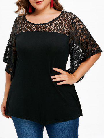 Sale Lace Butterfly Sleeve Plus Size T-shirt