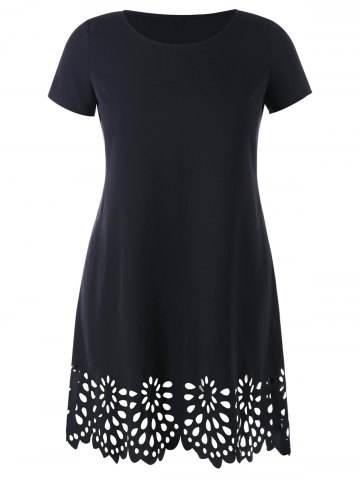 Best Openwork Scalloped Hem Plus Size Tee Dress
