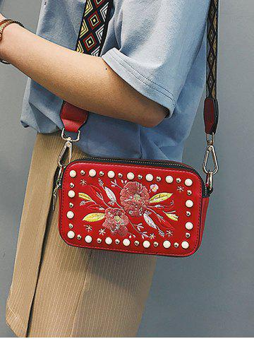 Trendy Studded Faux Pearl Floral Decorated Crossbody Bag