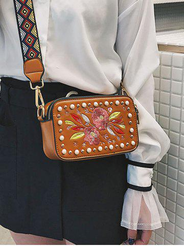 Buy Studded Faux Pearl Floral Decorated Crossbody Bag