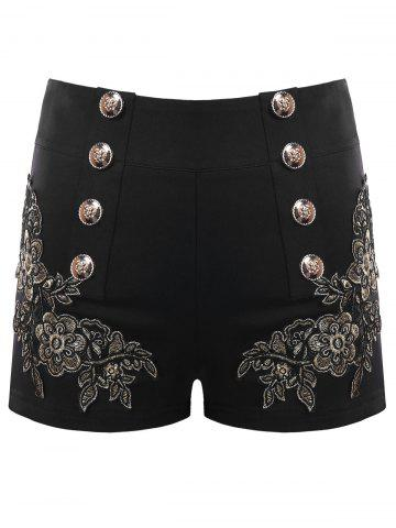 New Metal Button Embroidery Shorts