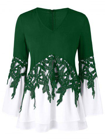 Outfits Bell Sleeve Applique Color Block Blouse