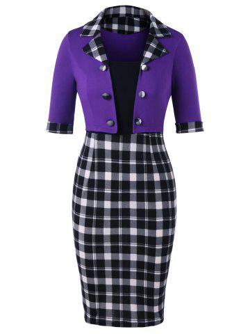 Fancy Double Breasted Plaid Fitted Dress
