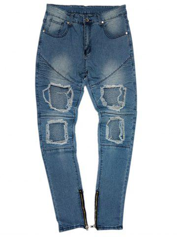 Discount Slim Fit Bottom Side Zipper Decorated Jeans
