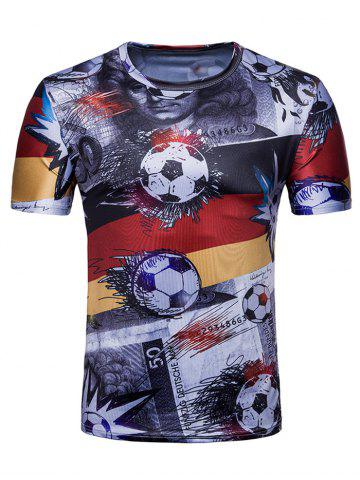 Online Football Euro German Flag Print Crew Neck T-shirt