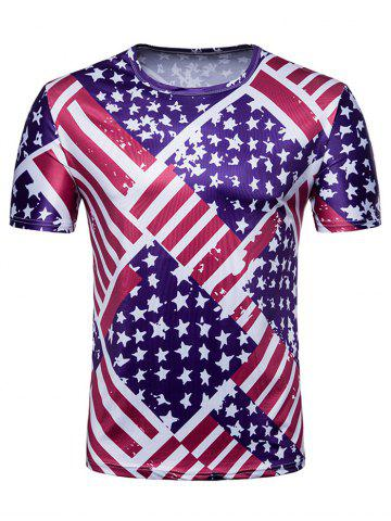 Affordable Crew Neck American Flag Print T-shirt