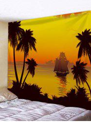 Sunset Coconut Tree Sailboat Print Wall Tapestry -