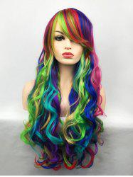 Long Inclined Bang Colormix Wavy Cosplay Synthetic Wig -