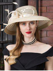 Striped Pattern Floral Tea Party Church Hat -