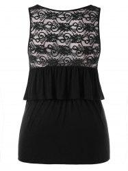 Sheer Lace Back Plus Size Fitted Tank Top -