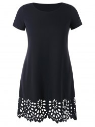 Openwork Scalloped Hem Plus Size Tee Dress -