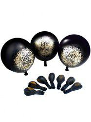Black Party Latex Balloons with Golden Spray Paint 50Pcs -