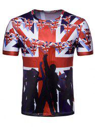Crew Neck Fans Flag of England Print T-shirt -