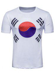 Crew Neck Flag of South Korea  Print T-shirt -