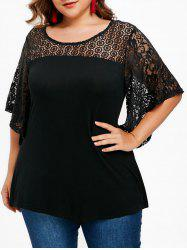 Lace Butterfly Sleeve Plus Size T-shirt -