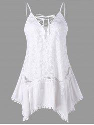 Sheer Lace Insert Trapeze Tank Top -