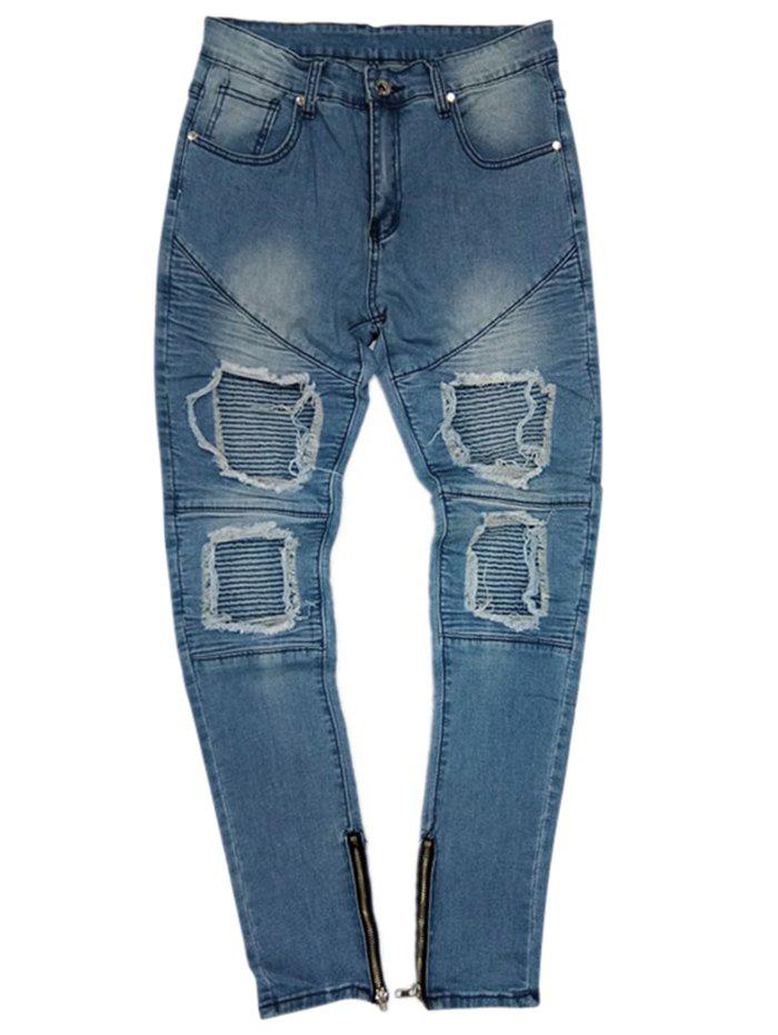 Chic Slim Fit Bottom Side Zipper Decorated Jeans
