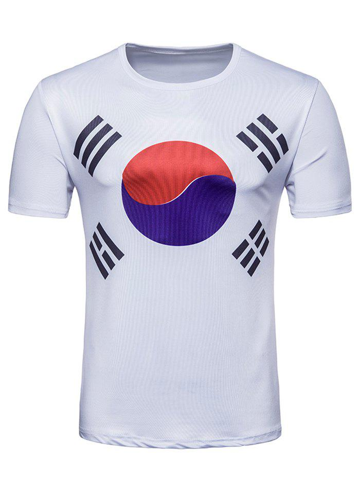 Sale Crew Neck Flag of South Korea  Print T-shirt