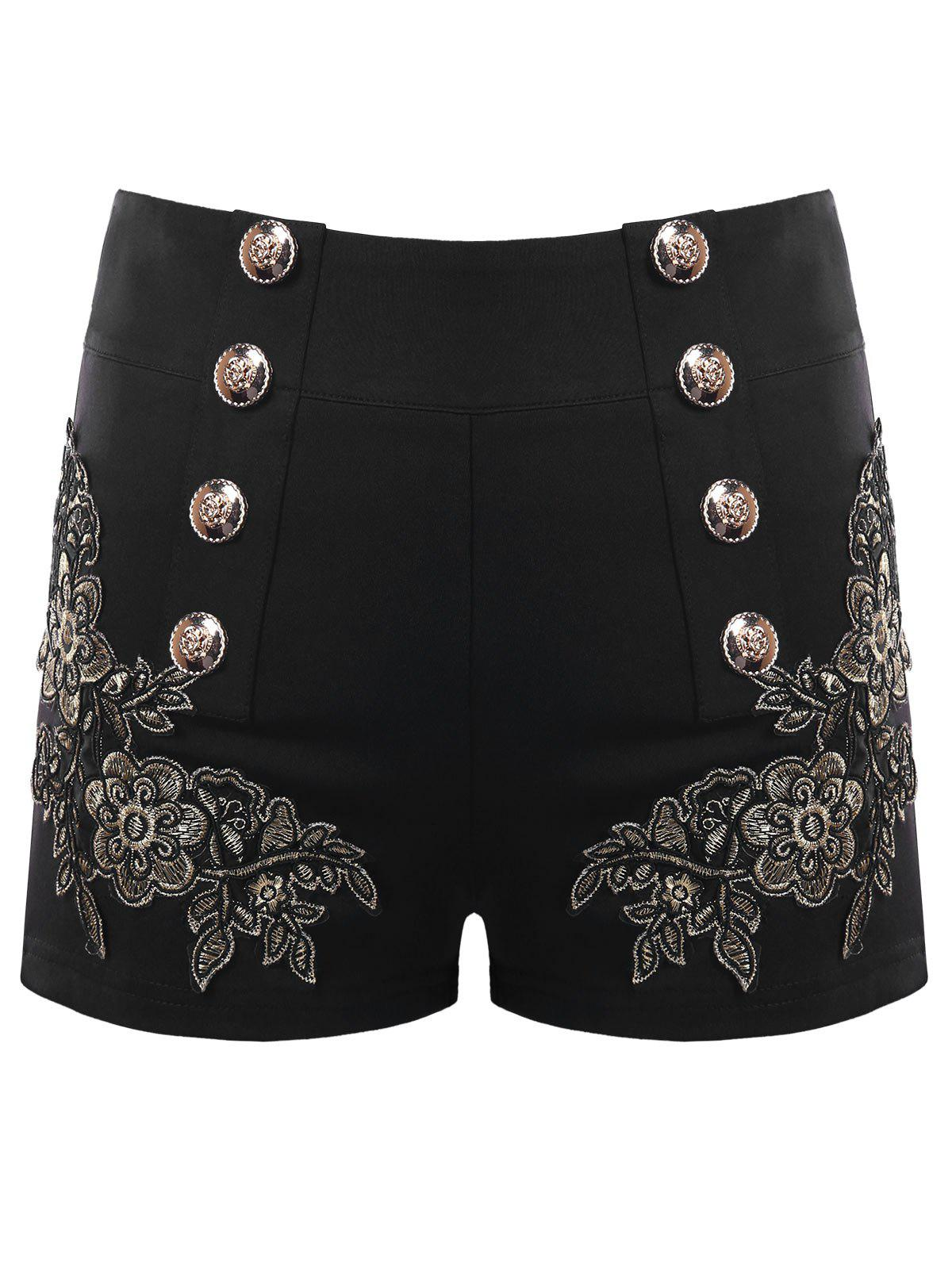 Store Metal Button Embroidery Shorts