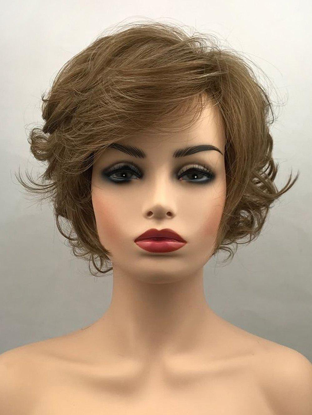 Fancy Short Side Bang Layered Fluffy Curly Synthetic Wig