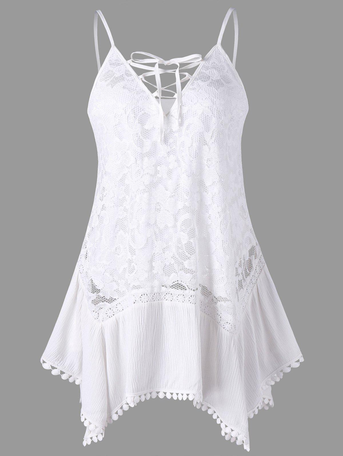 Buy Sheer Lace Insert Trapeze Tank Top