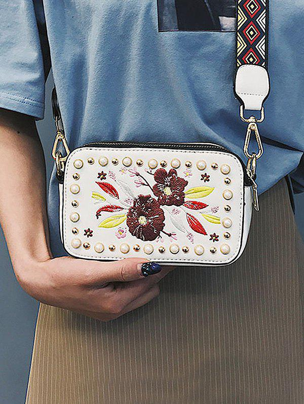 Shops Studded Faux Pearl Floral Decorated Crossbody Bag