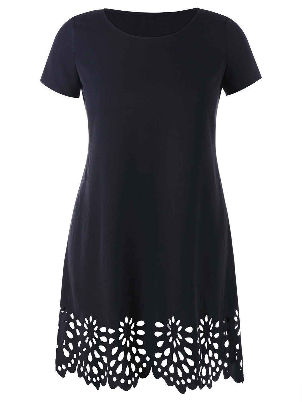 Hot Openwork Scalloped Hem Plus Size Tee Dress