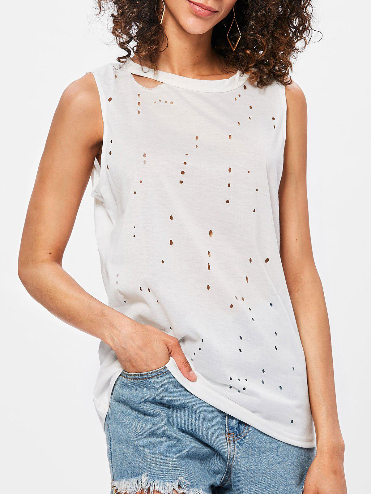 Unique Ripped Holes Back Cut Out Tank Top