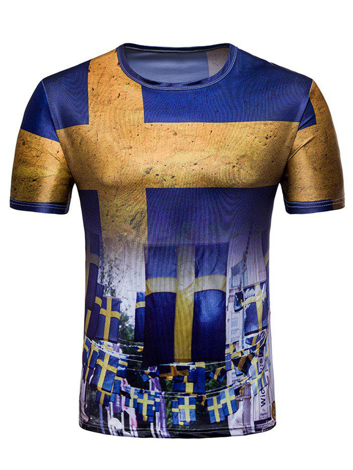 Latest Crew Neck Swedish Flag Print T-shirt