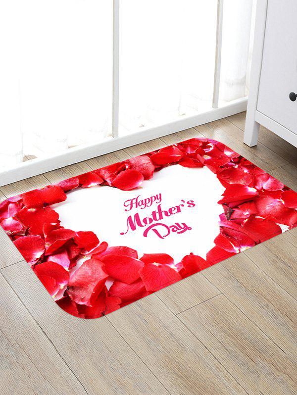 Store Red Petals Print Non-slip Water Absorption Flannel Bathroom Rug