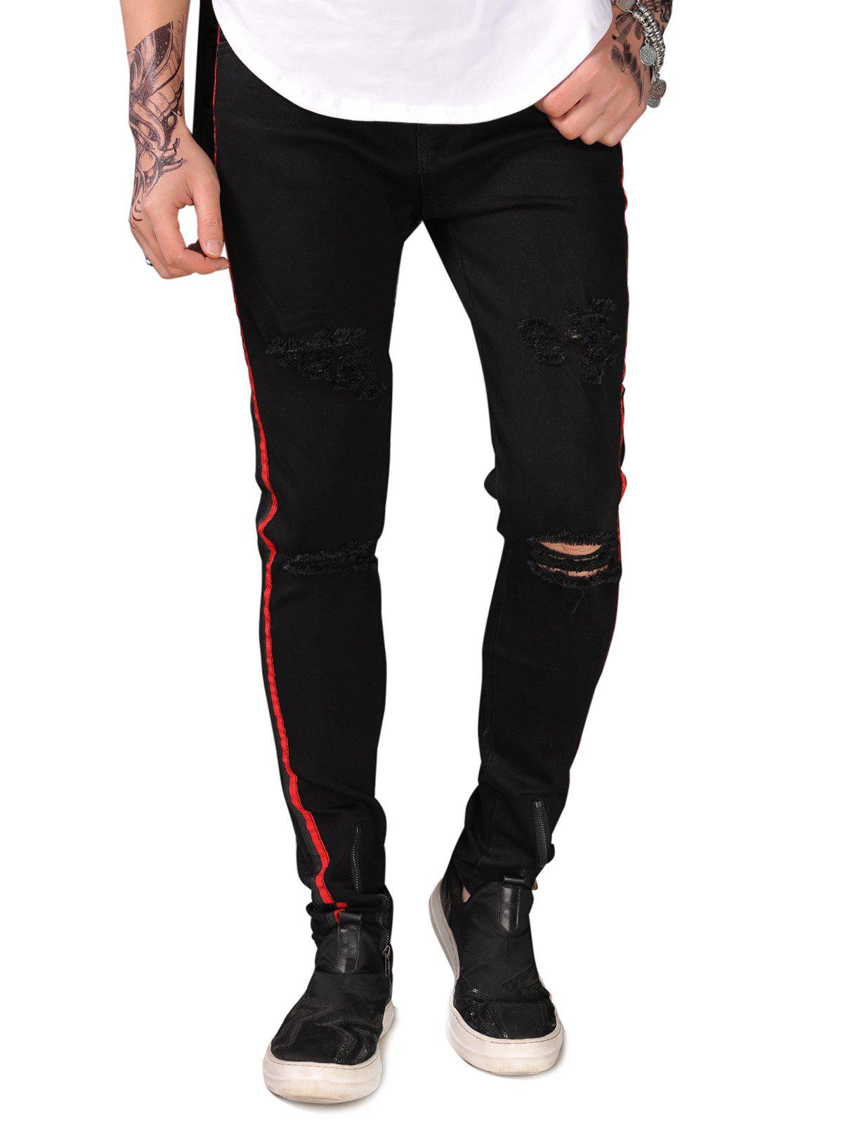 Buy Narrow Feet Zipper Decorated Jeans