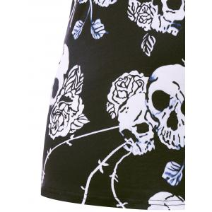 Plus Size Skull Hollow Out Fitted Tank Top -