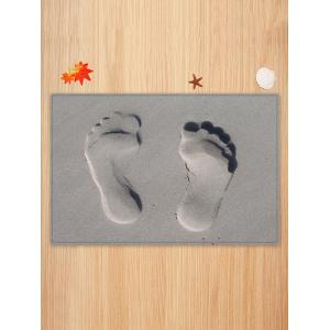 Sandbeach Footprint Pattern Water Absorption Area Rug -