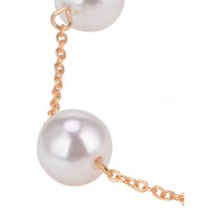 Simple Faux Pearl Alloy Chain Necklace -