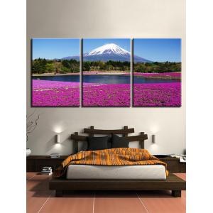 Snow Mountain Forest Lakeside Lavender Field Impressions sur toile -