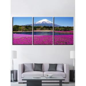 Snow Mountain Forest Lakeside Lavender Field Print Canvas Paintings -