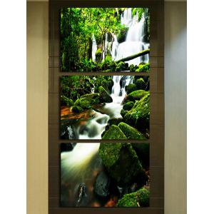 Mountain Stream in Forest Canvas Wall Art Paintings 3Pcs -