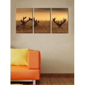 Deer Stag With Long Antler Wall Art Painting 3Pcs -