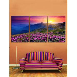 Sunrise Flower Mountain Canvas Print Wall Art Decor 3Pcs -