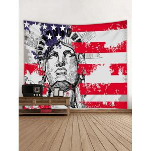 Wall Decor Statue of Liberty American Flag Print Tapestry -