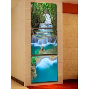 Forest Cascade Falls Printed Wall Art Split Canvas Paintings -