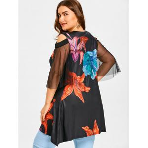 Mesh Panel Plus Size Handpainted Floral T-shirt -