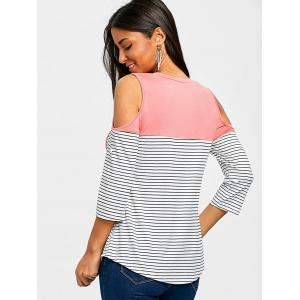 Roll Up Sleeve Cold Shoulder T-shirt -