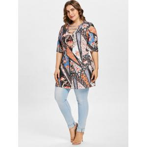 Ladder Cut Out Plus Size Printed T-shirt -