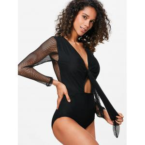 Fishnet Long Sleeves Plunge Swimsuit -